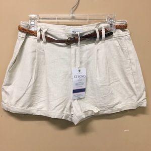Ci Sono Belted Linen Shorts NWT Size Medium